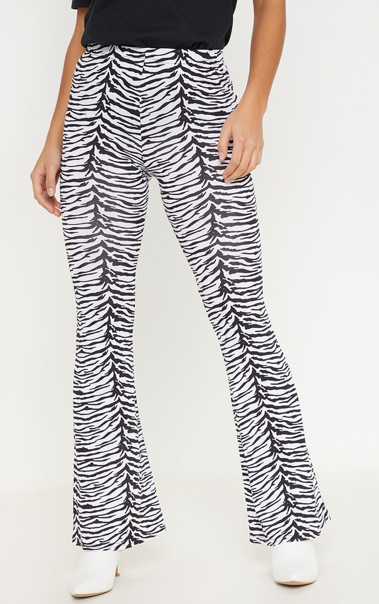 Petite Zebra Print Flare Trousers 2