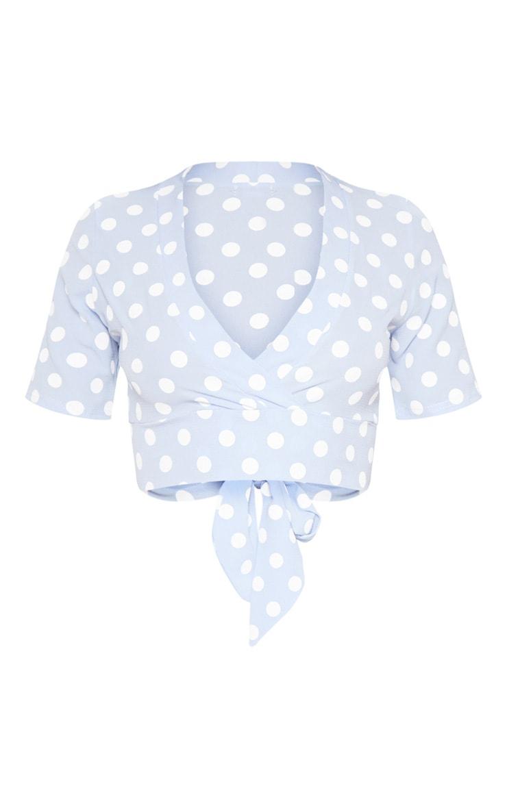 Blue Polka Dot Tie Back Crop Short Sleeve Blouse  3