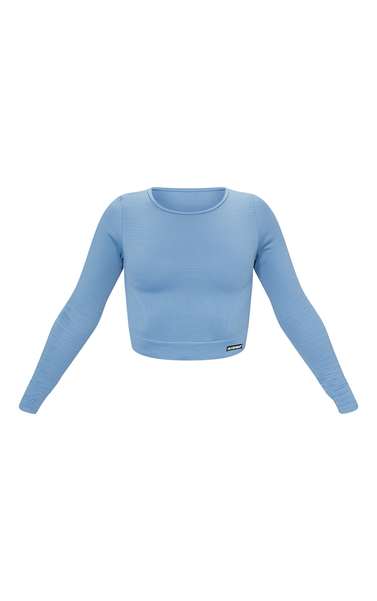 Blue Seamless Linear Textured Cropped Gym Top 5