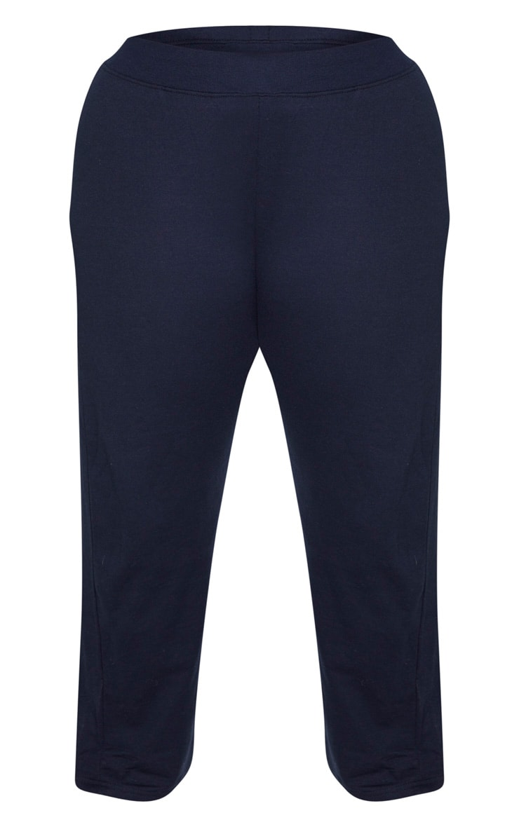 Plus Navy Sweat High Waisted Wide Leg Trouser 3
