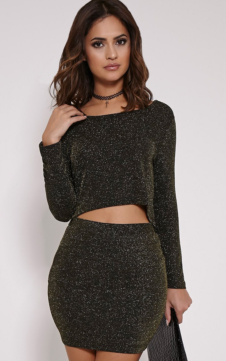 Inara Black Lurex Glitter Crop Top 1