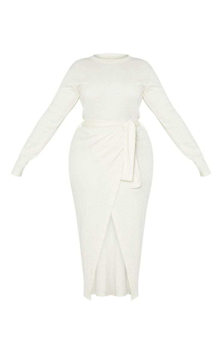 Plus Cream Thick Rib Tie Waist Wrap Midi Dress 3