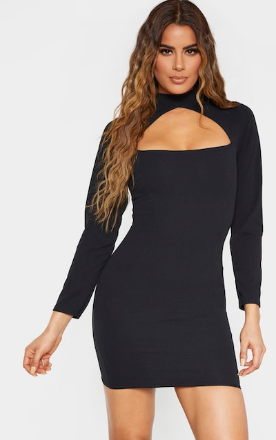 Tall Black High Neck Cut Out Long Sleeve Dress