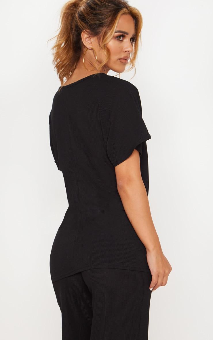 Petite Black Ribbed Wrap Detail T-Shirt 2