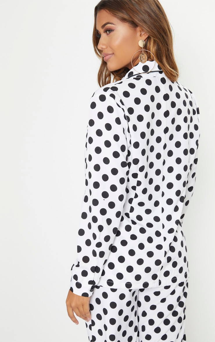White Polka Dot Woven Shirt | Tops