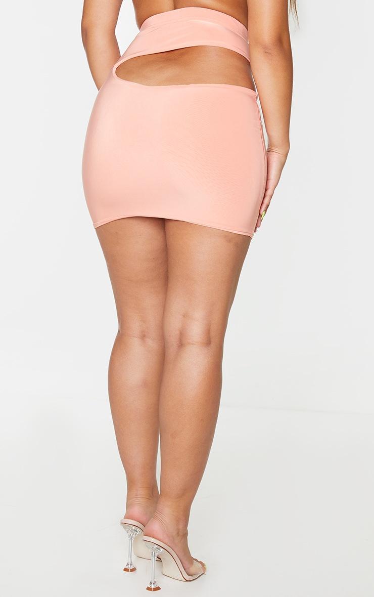 Peach Slinky Cut Out Mini Skirt 3