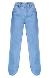Petite Mid Wash Seam Detail Wide Leg Jeans 5