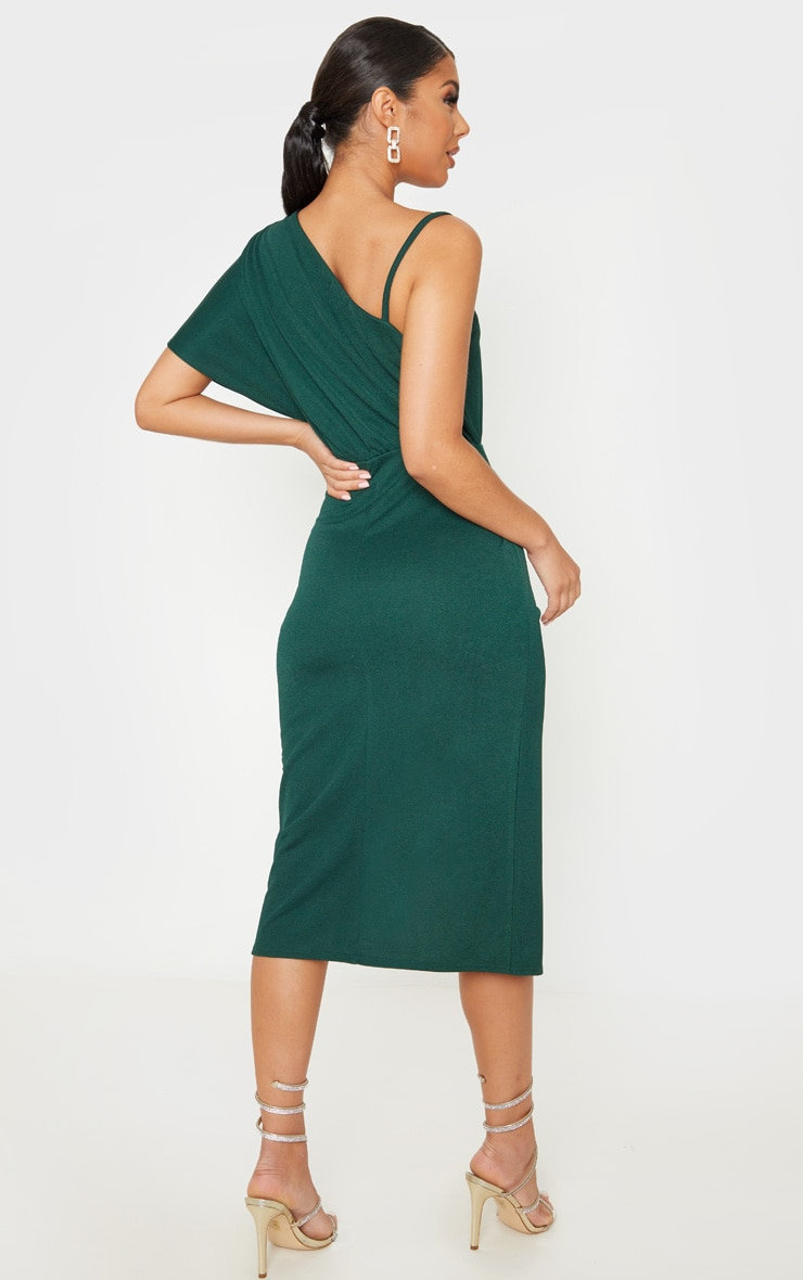 Emerald Green Drape Detail One Shoulder Midi Dress 4