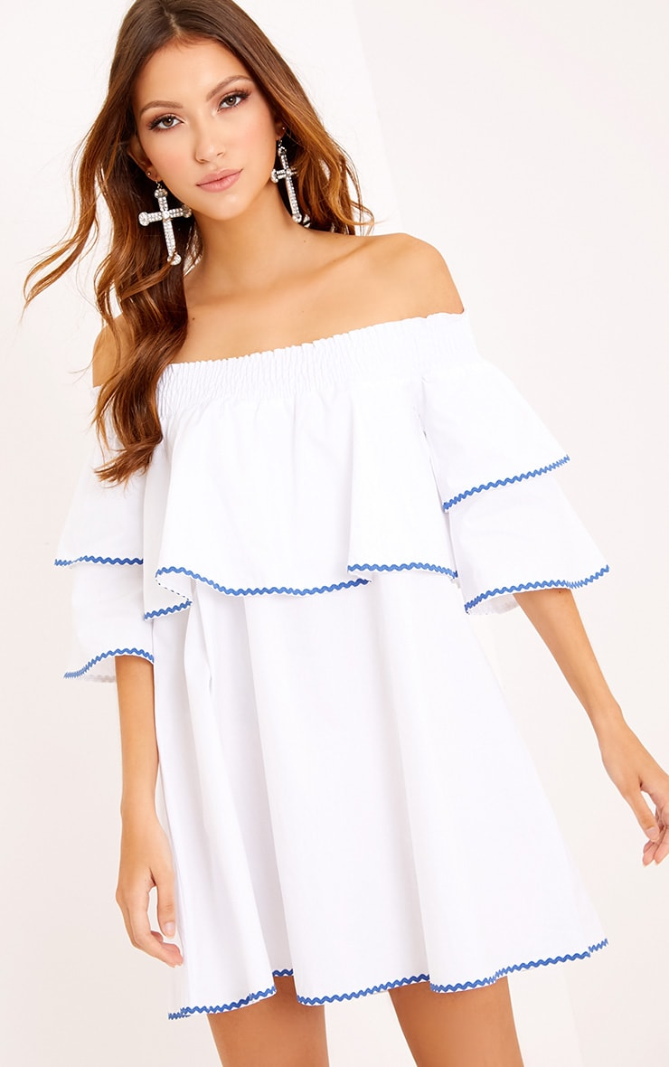 Cecillia Ruffle Blue Embroidered Shift Dress White 1