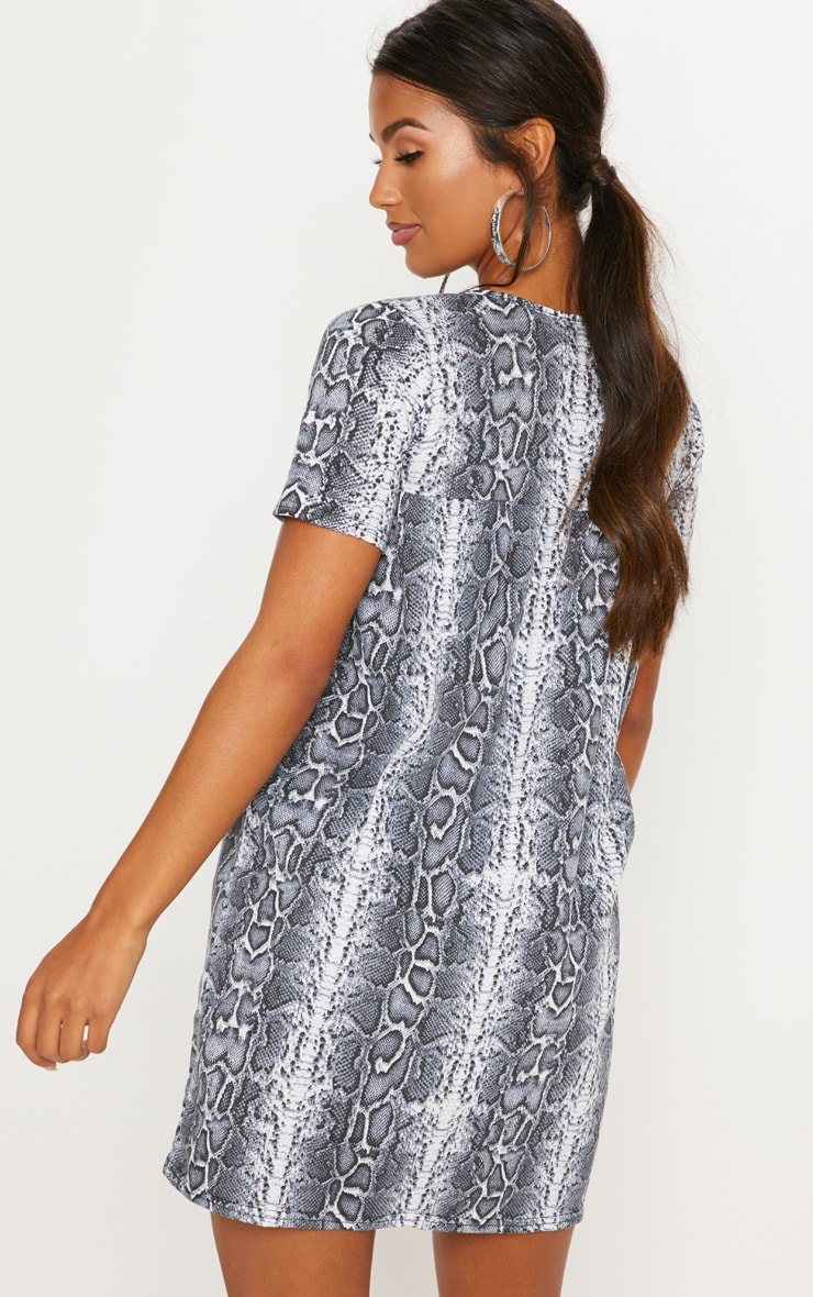 White Snake Print Short Sleeve Smock Dress 2