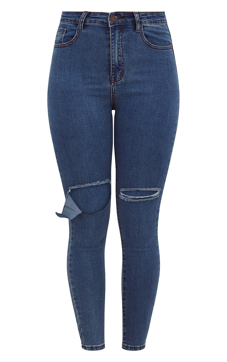 Dark Wash Open Knee Rip Skinny Jean 2