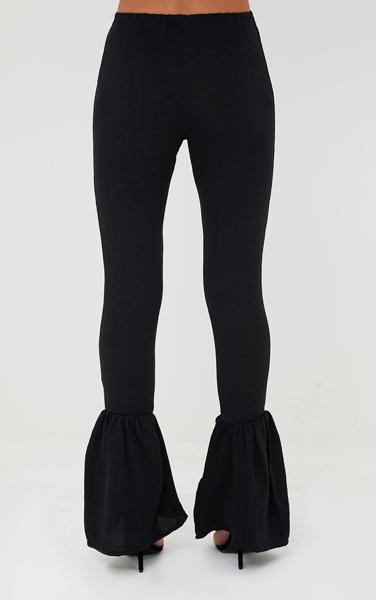 Black Crinkle Flare Hem Skinny Trousers 4