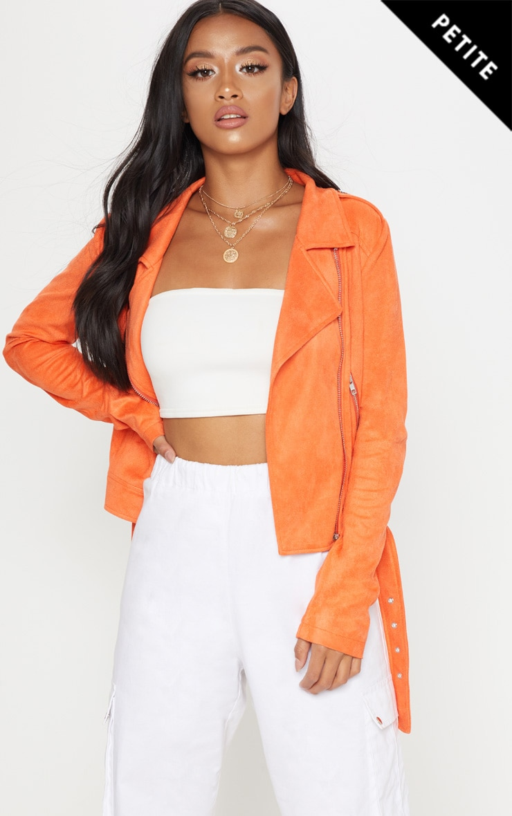 Petite Orange Faux Suede Biker Jacket 1