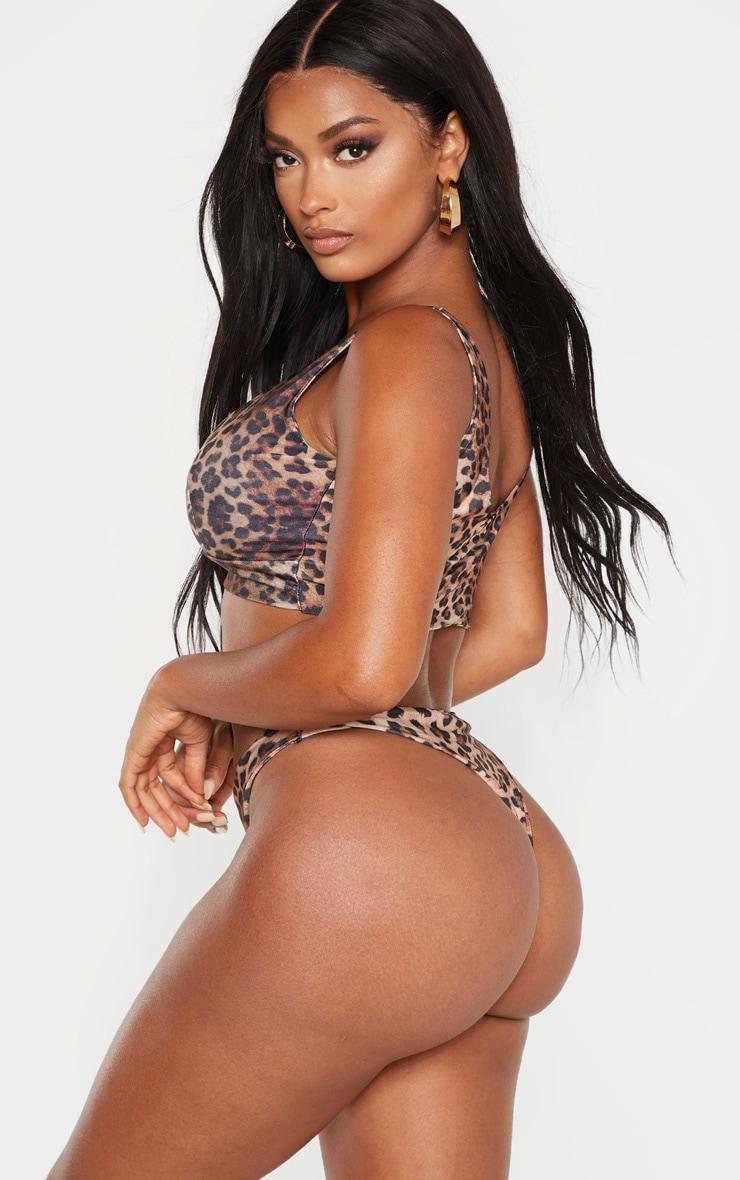 Shape Brown Leopard Print Deep Plunge Bikini Top 2