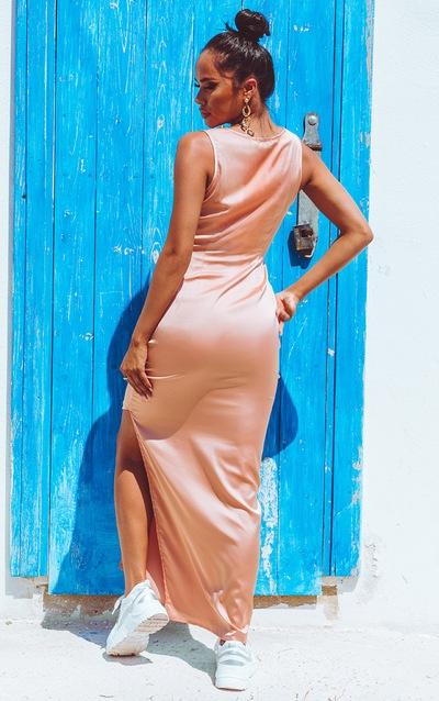 Peach Satin Fitted Maxi Dress