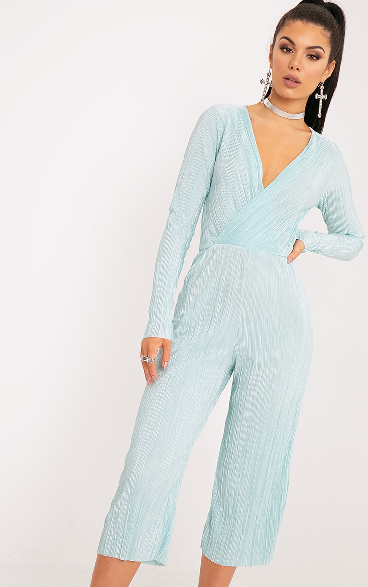 Liah Sage Green Pleated Long Sleeve Wrap Culotte Jumpsuit 3