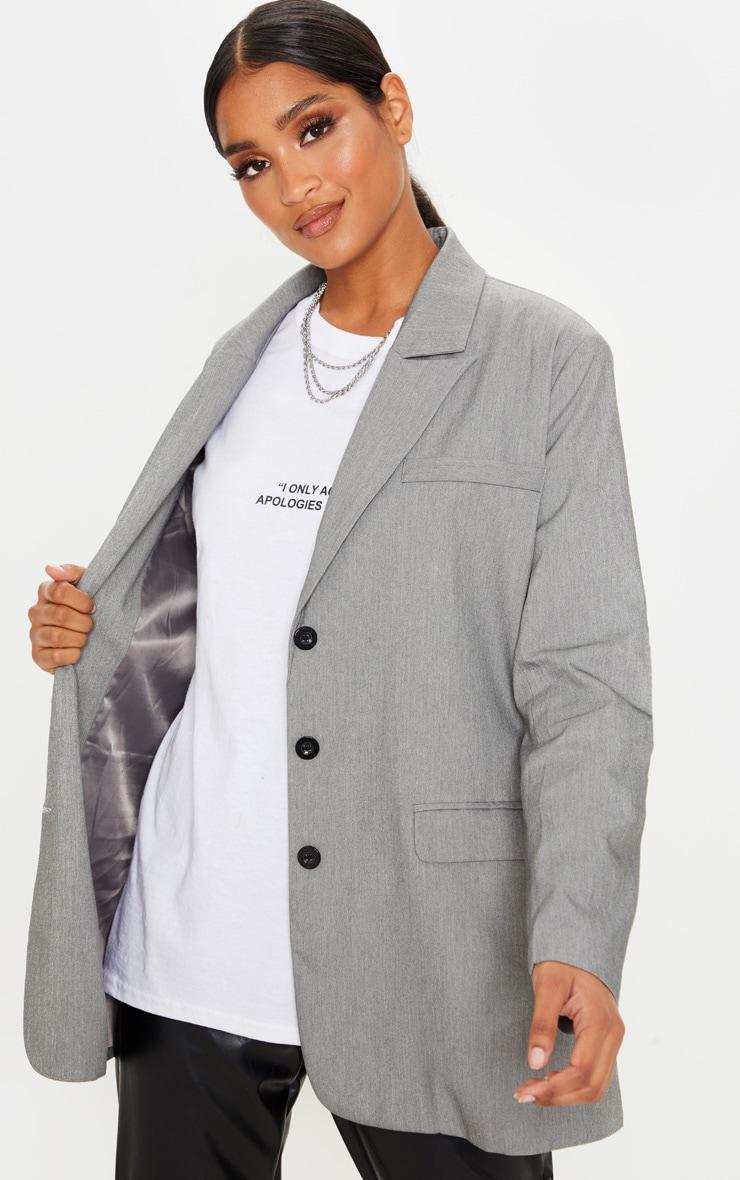 Grey Oversized Woven Blazer 1