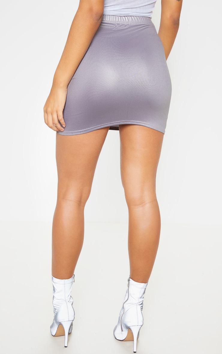 Grey Coated Mini Skirt  4