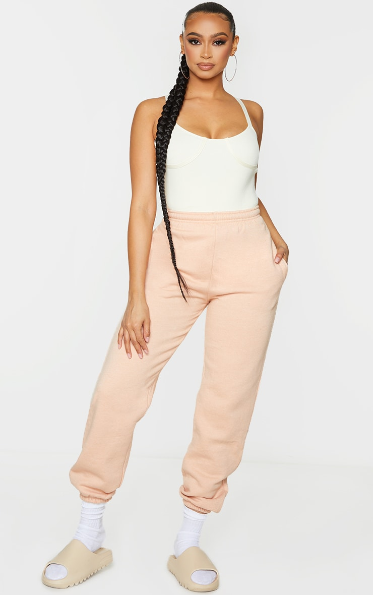 Cream Ribbed Bandage Knitted Cup Detail Bodysuit 3
