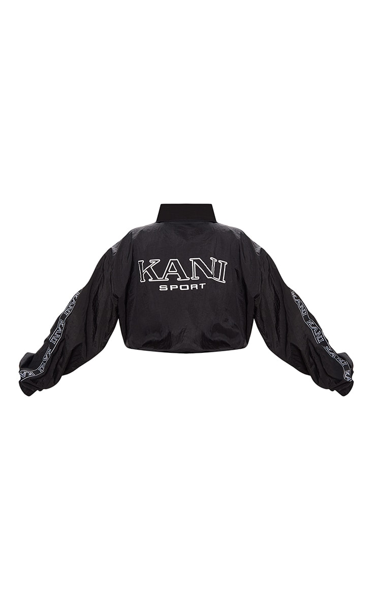 KARL KANI Black Tape Printed Shell Crop Windbreaker 5