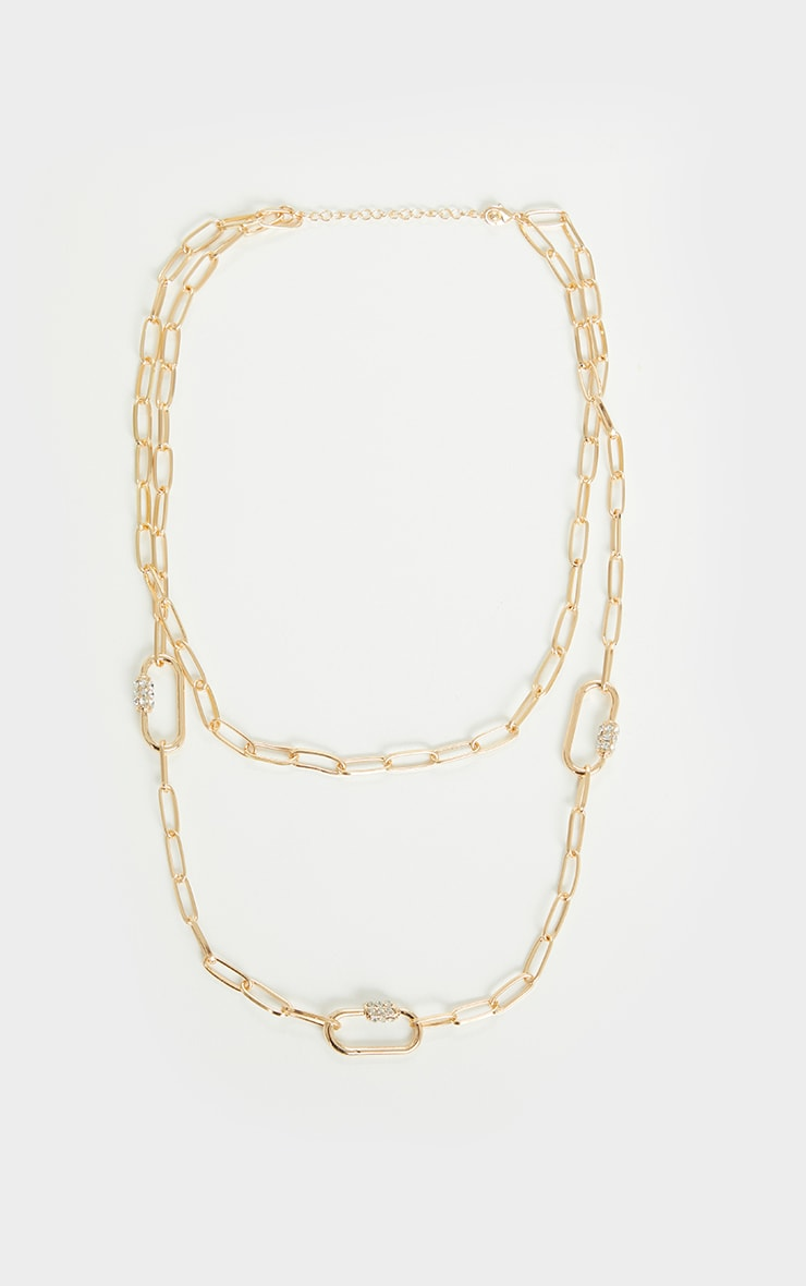 Gold Diamante Double Chain Necklace 2