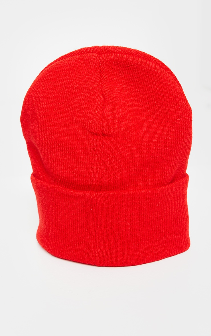 PRETTYLITTLETHING Red Embroidered Beanie 3