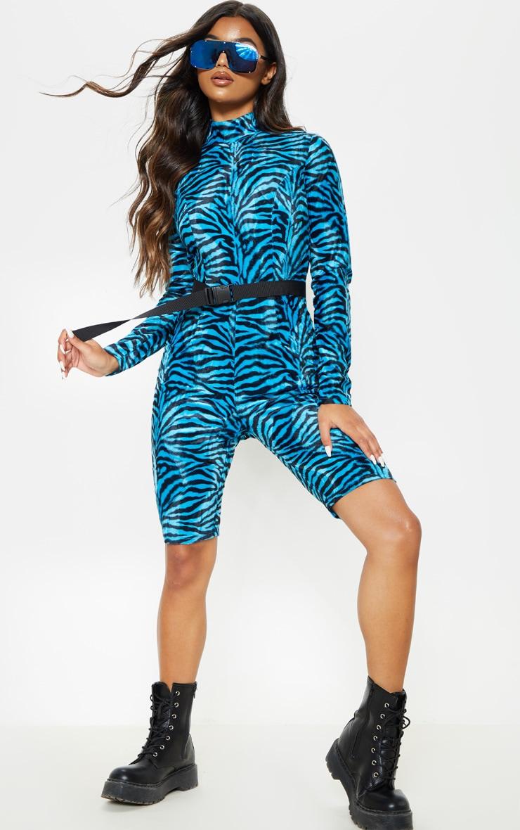 Blue Zebra Print Brushed Velvet Unitard 3