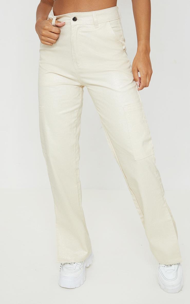 Sand Croc Coated Cargo Pocket Detail Split Hem Jeans 2