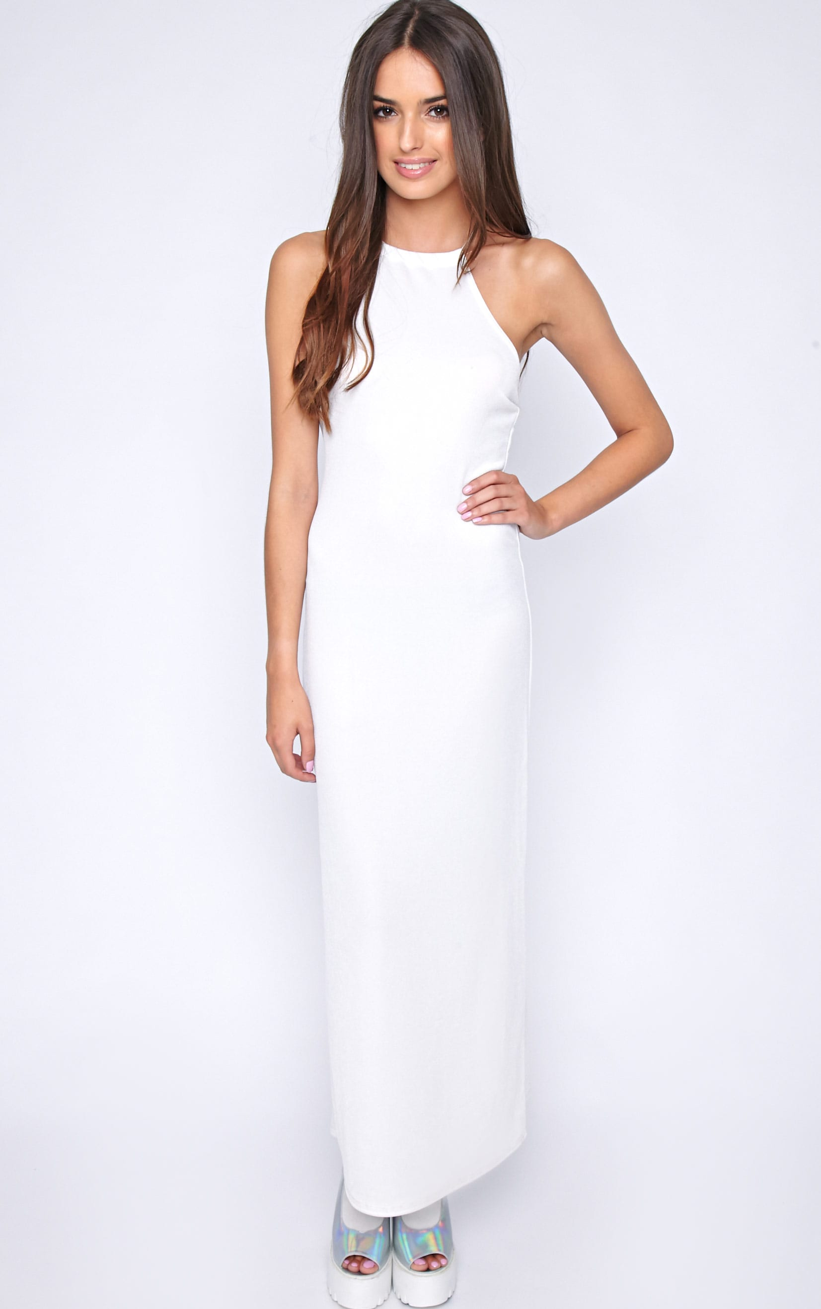 Becca White Cross Back Maxi Dress 1