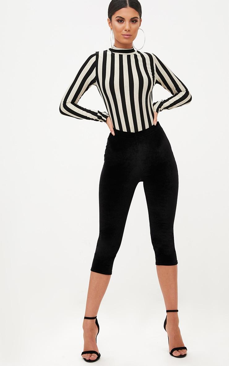 Monochrome Stripe Longsleeve Thong Bodysuit 5