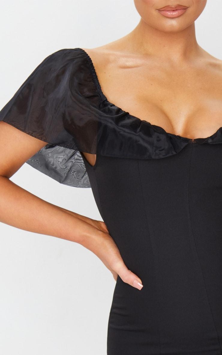 Black Chiffon Shoulder Detail Bodycon Dress 4