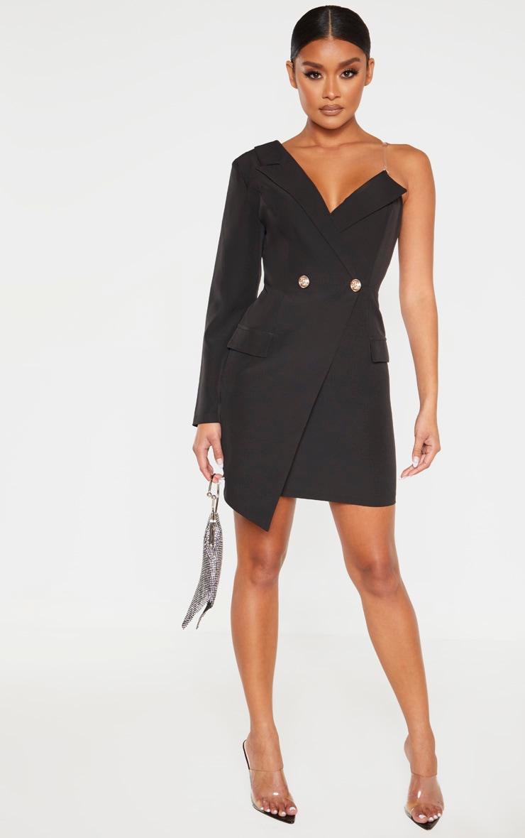 Robe blazer asymétrique noire à épaule unique 4