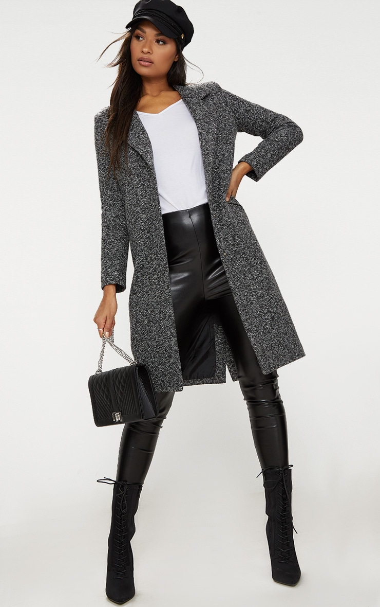 Grey Longline Wool Coat 1