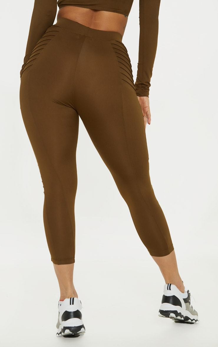 Khaki Ribbed Detail Gym Legging 4