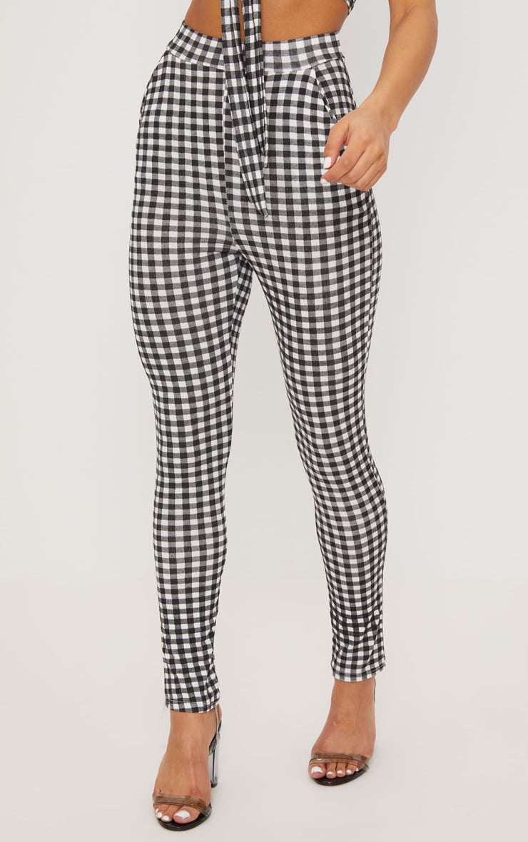 Black Gingham Skinny Pants 2