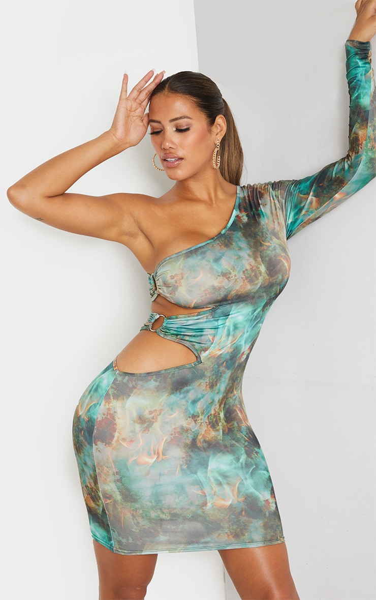 Shape Green Flame Print Ring Detail One Shoulder Bodycon Dress 1
