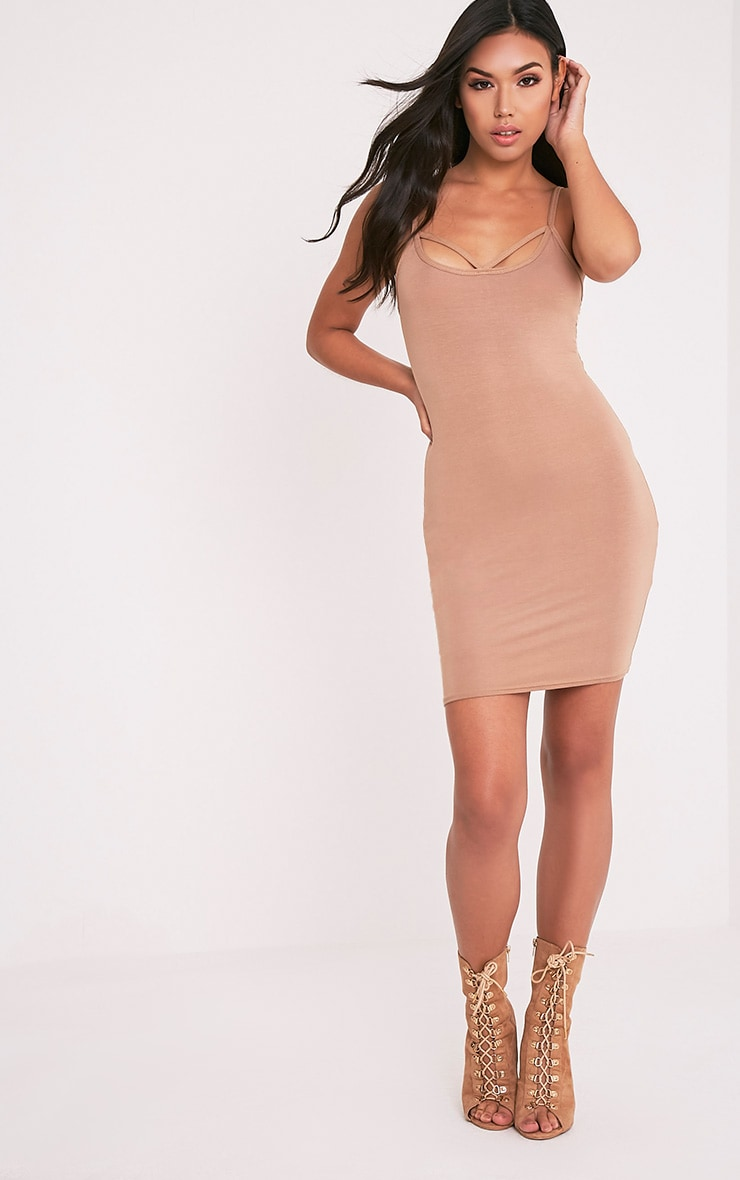Chassa Camel Strap Front Detail Bodycon Dress 5
