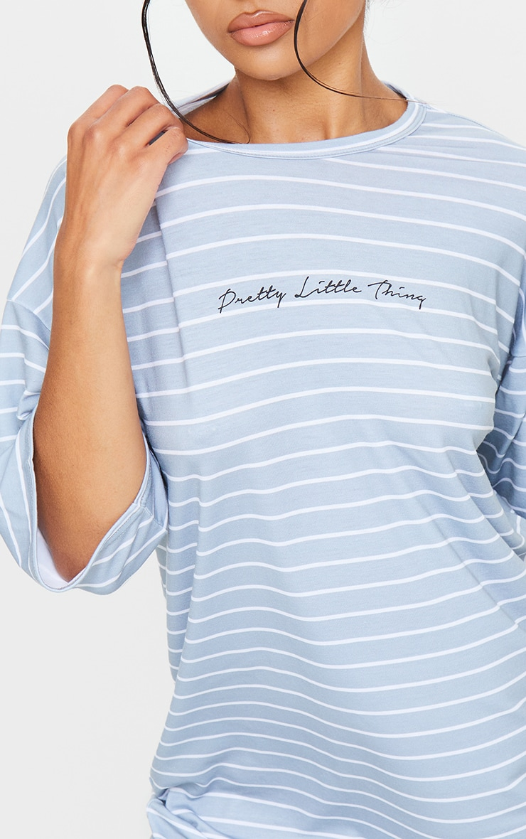PRETTYLITTLETHING Grey Stripe Slogan Oversized Boyfriend T Shirt Dress 4