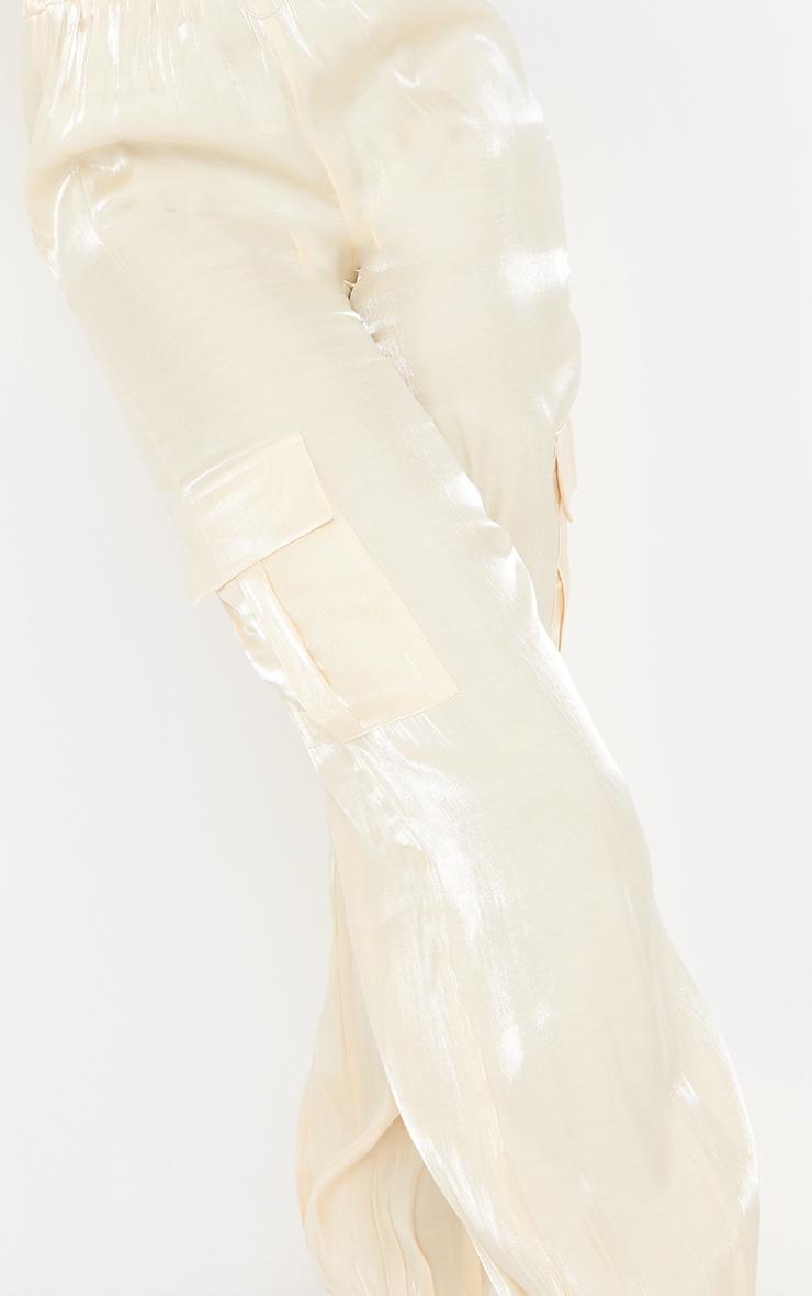 Tall Cream Pocket Detail Reflective Track Pants 4