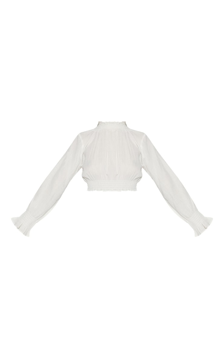 White Cheesecloth Open Back Shirring Detail Blouse 5