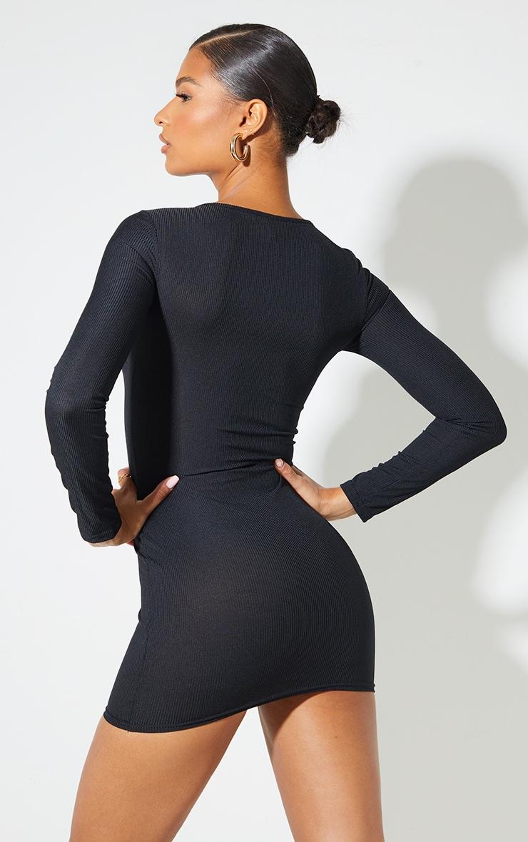 Basic Black Ribbed Long Sleeve Dress 3