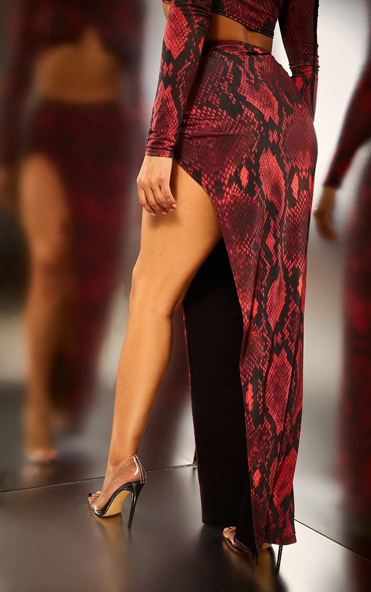 Red Snake Extreme Split Maxi Skirt 4