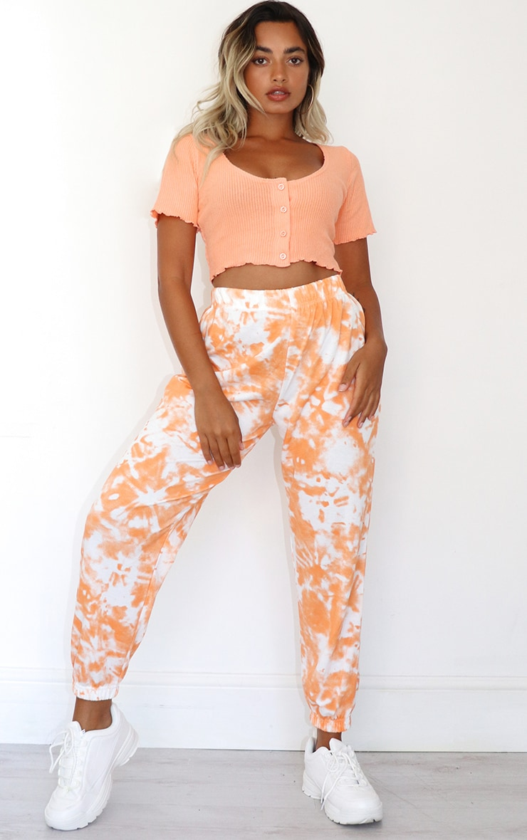 Petite Orange Tie Dye Joggers 1