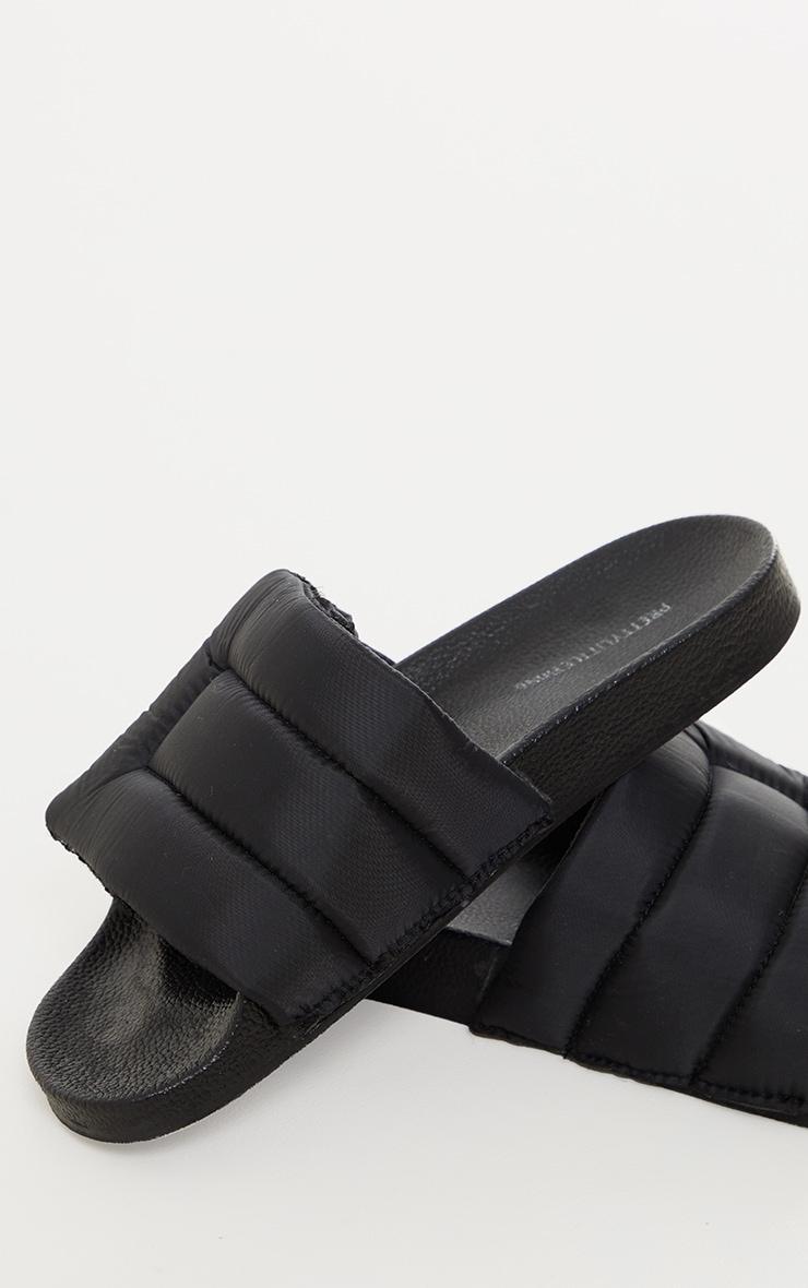 Black Nylon Padded Velcro Slides 4