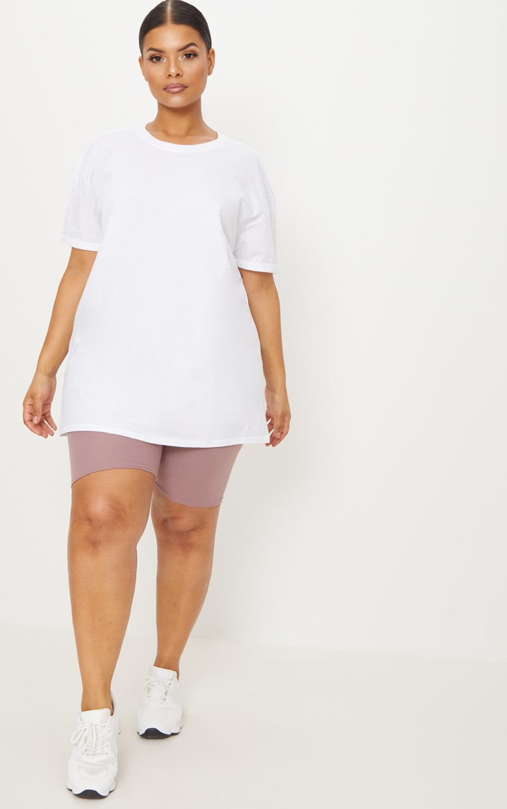 Plus White Oversized Boyfriend T Shirt  4