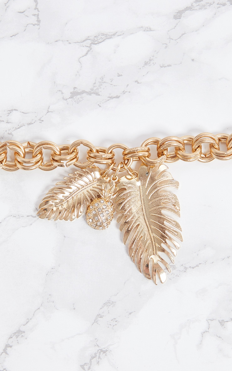 Gold Pineapple Leaf Chunky Chain Bracelet 3