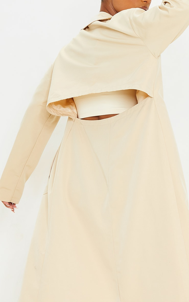 Stone Woven Cut Out Back Maxi Trench 4