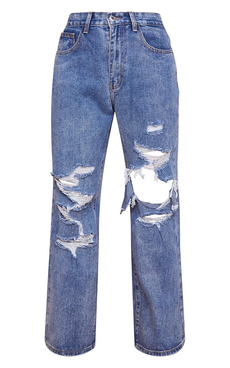 Petite Blue Mid Wash Open Knee Ripped Boyfriend Jeans 5