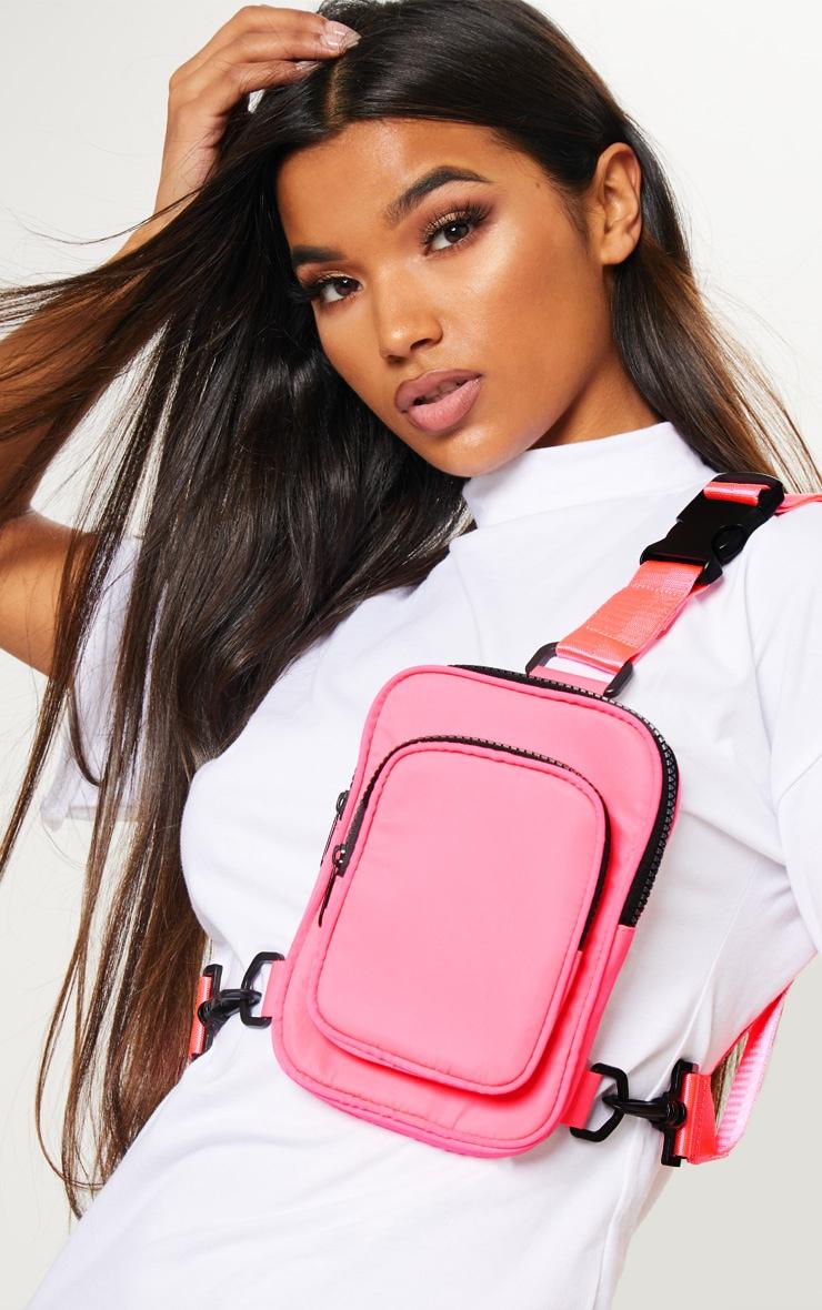 Pink Nylon Body Harness Messenger Bag