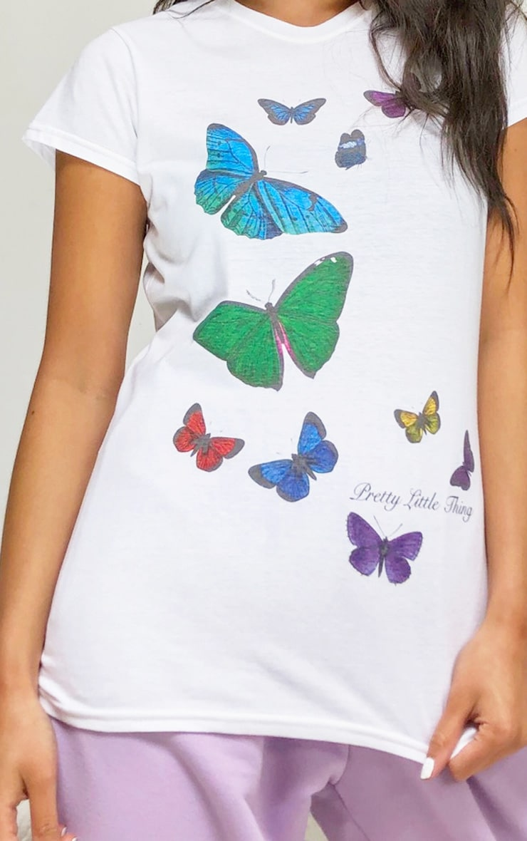 PRETTYLITTLETHING White Butterfly Placement Print T Shirt 4